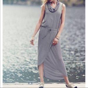 Anthro Dolan B&W Stripe Cowl Neck Maxi Dress